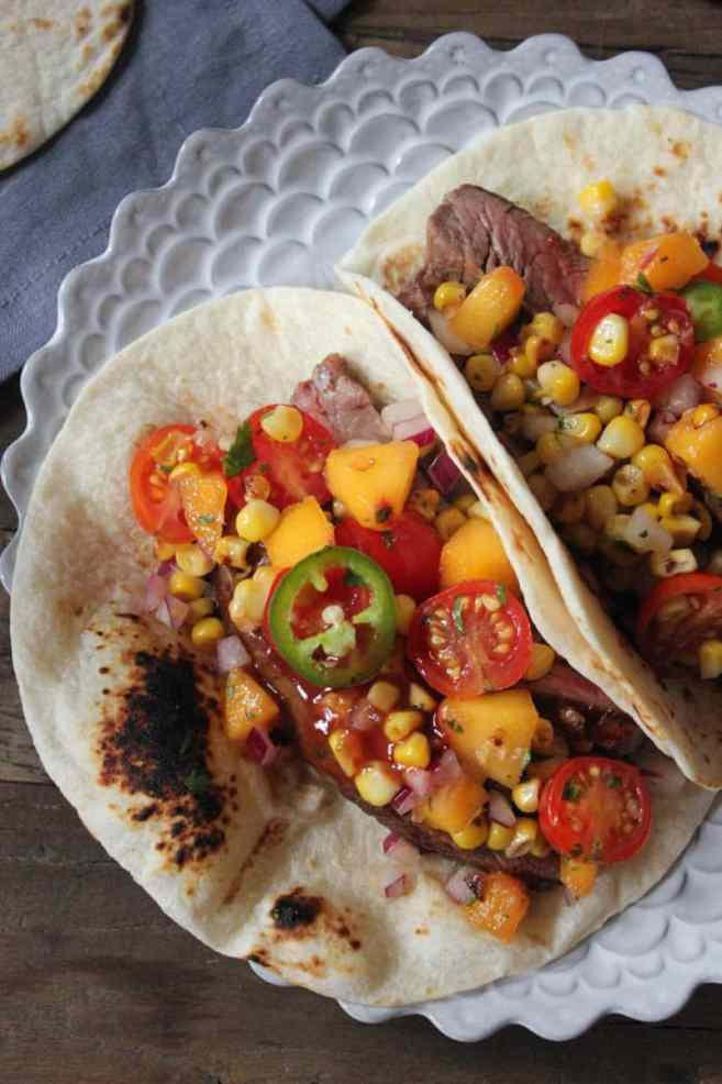 Barbecue-Flank-Steak-Tacos-with-Corn-Peach-Salsa-4