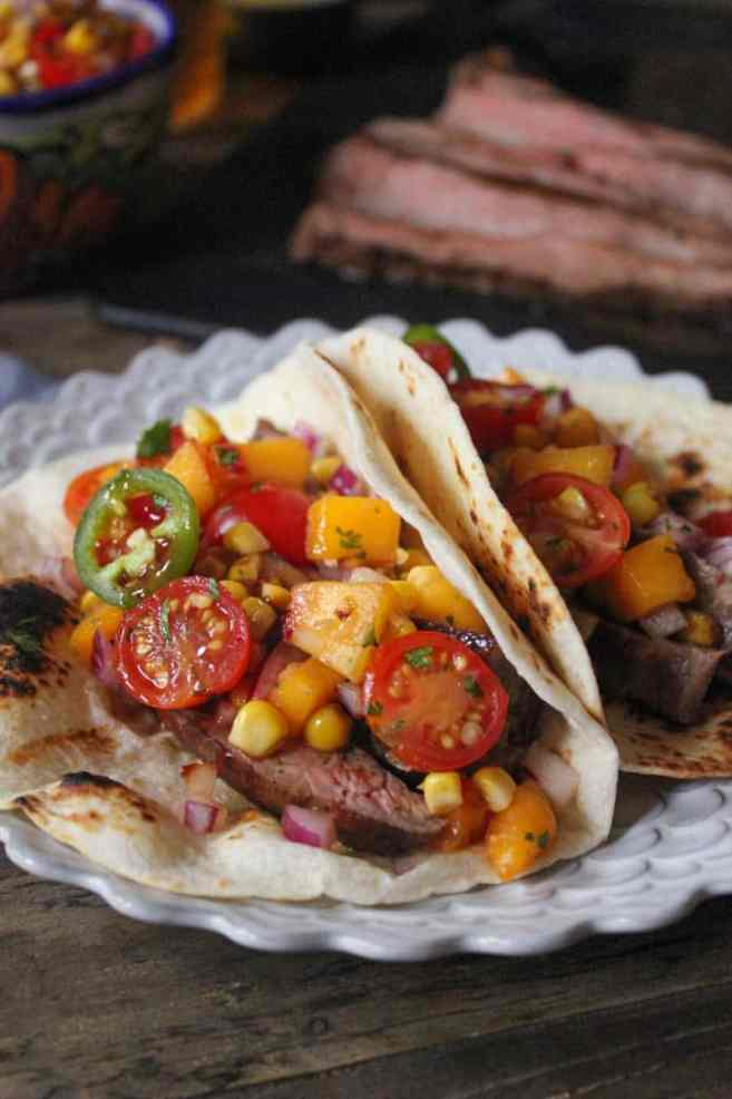 Barbecue-Flank-Steak-Tacos-with-Corn-Peach-Salsa-7