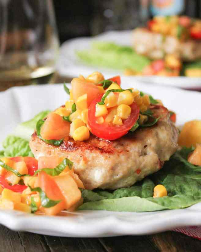 chicken-and-goat-cheese-burgers-with-peaches-corn-and-cherry-tomatoes-4