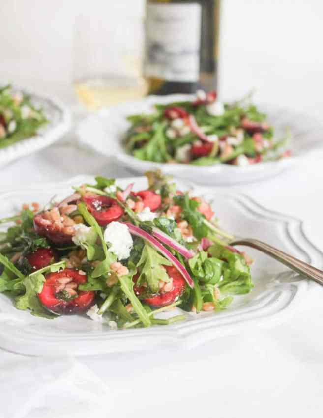 Arugula-and-Farro-Salad-with-Cherries-and-Goat-Cheese-5