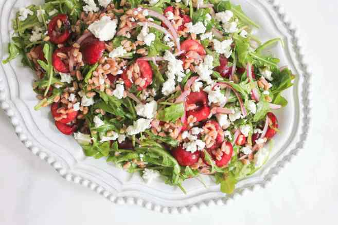 Arugula-and-Farro-Salad-with-Cherries-and-Goat-Cheese-step-5