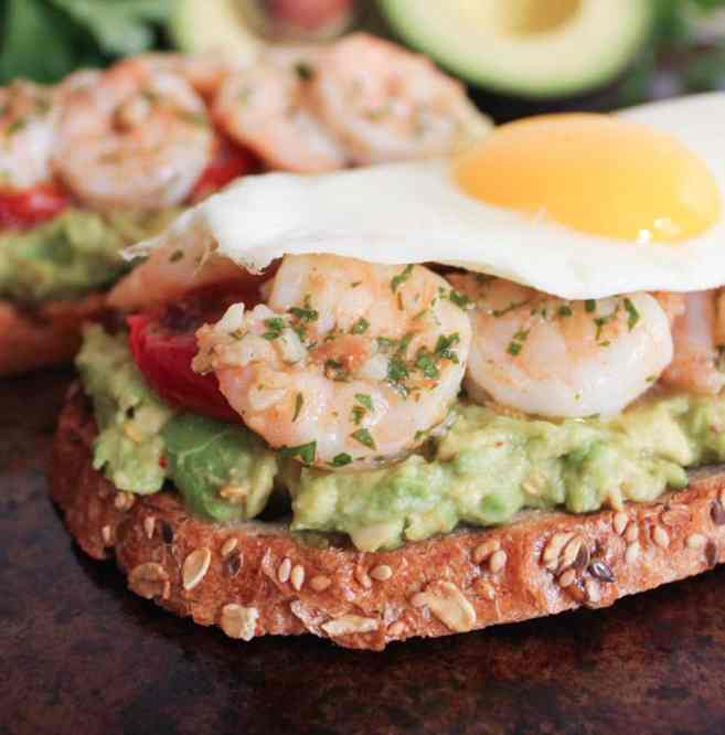Avocado-Toast-with-Charred-Tomatoes-Garlic-Shrimp-and-Fried-Eggs-6