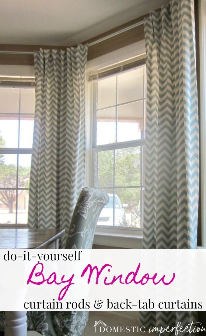 diy bay window curtain rod back tab