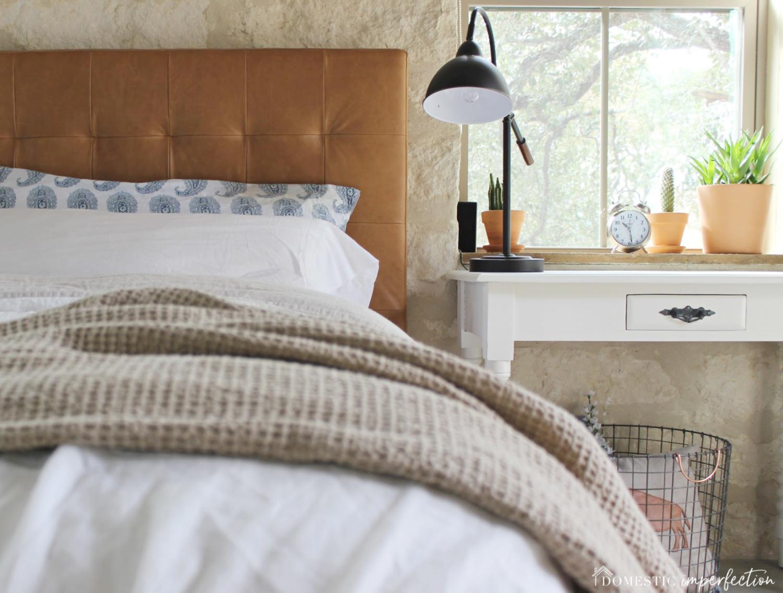 Master Bedroom Tweaks Leather Headboard Awesomeness Domestic Imperfection