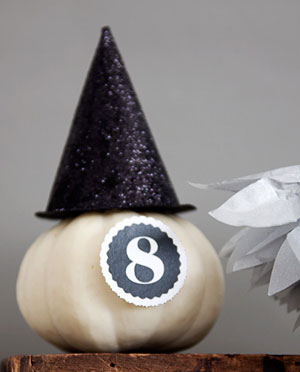 Glittered Mini Witch Hat Pumpkin