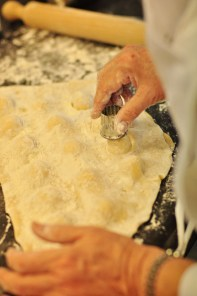Cutting ravioli by hand
