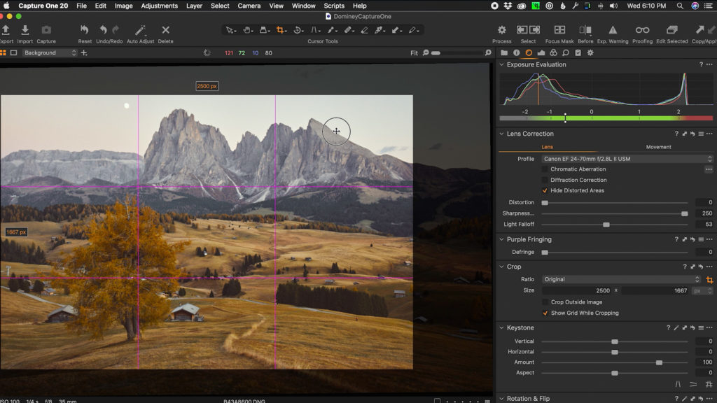 Cropping an image in Capture One