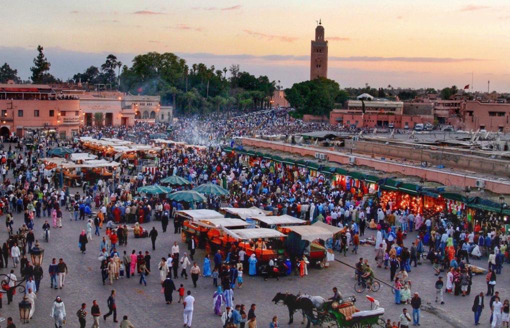 Marrakesh market sunset