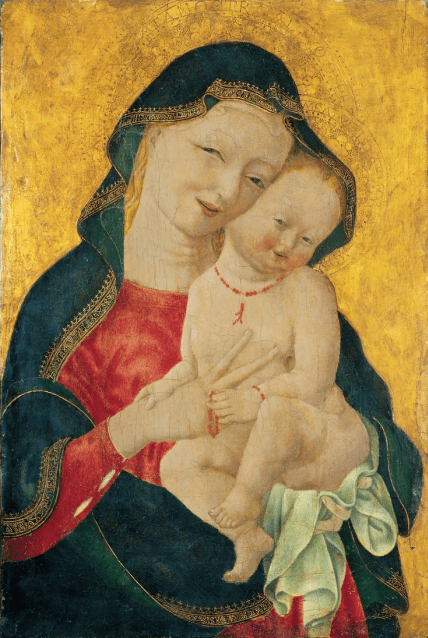 Master of the Winking Eyes, Madonna and Child (Madonna col Bambino), ca. 1450; Tempera and gold on wood panel, 23 1/8 × 15 1/4 in.; Grimaldi Fava Collection