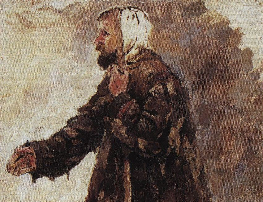 Painting of a kneeling beggar
