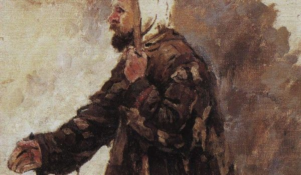 Painting of a kneeling beggar