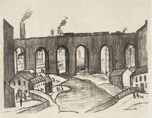 The Viaduct, Stockport 1969-72 by L.S. Lowry 1887-1976