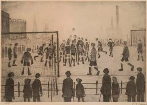 The Football Match Signed  by L.S. Lowry