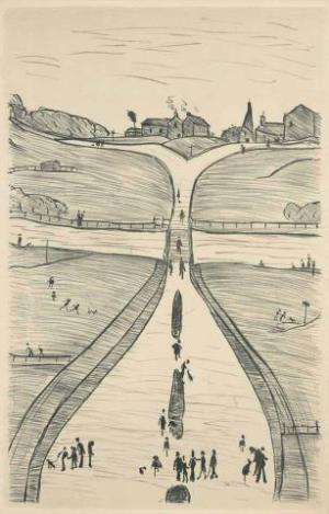 Village on a Hill Signed  by L.S. Lowry