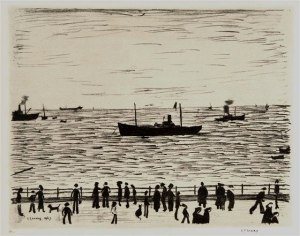 Seaside Promenade Signed  by L.S. Lowry