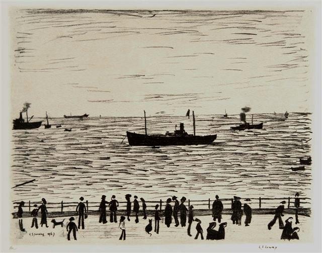 Seaside Promenade Signed  by L.S. Lowry
