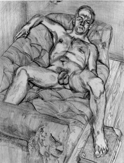 Man Posing Signed  by Lucian Freud