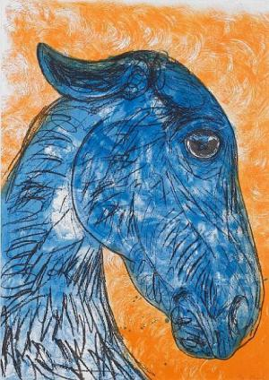 Blue horse head Signed  by Elisabeth Frink