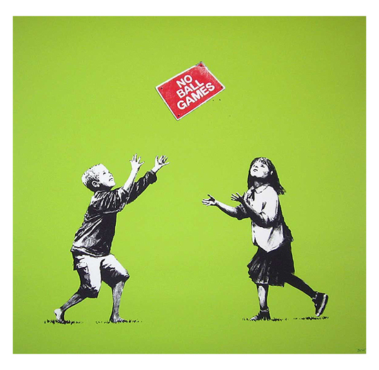 No Ball Games (green) Signed  by  Banksy
