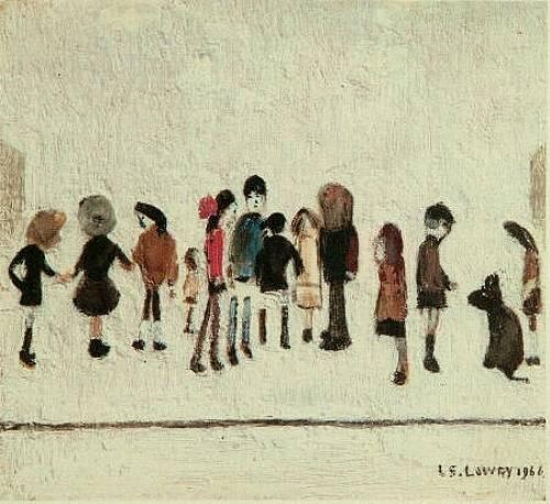 Group of Children Signed  by L.S. Lowry