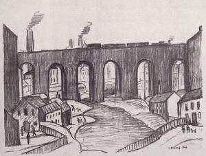 The Viaduct Salford Signed  by L.S. Lowry