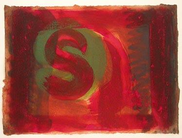 Red Listening Ear Signed  by Howard Hodgkin