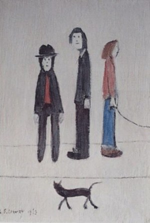 Three Men and a Cat Signed  by L.S. Lowry
