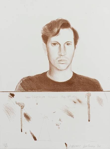 Peter Schlesinger Signed  by David Hockney