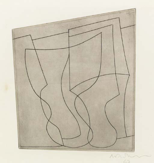 Complex of Goblets Signed  by Ben Nicholson