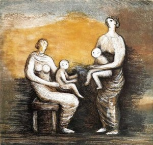 Mother and Child XVI Signed  by Henry Moore