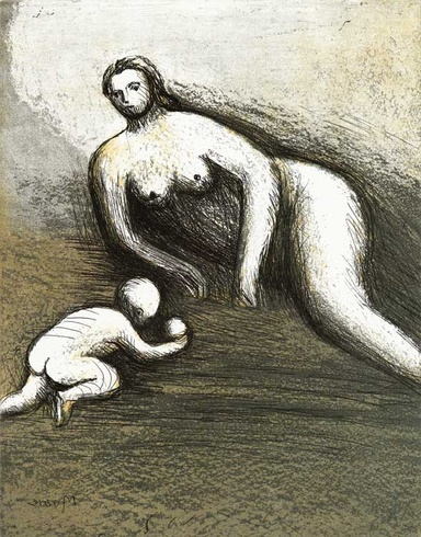 Mother and Child VI Signed  by Henry Moore