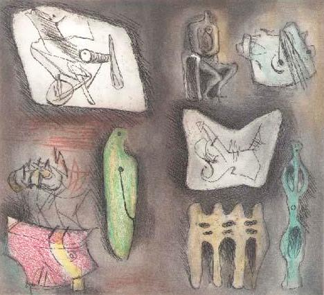 Sculptural Ideas 3 Signed  by Henry Moore