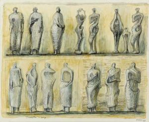 Standing Figures Signed  by Henry Moore