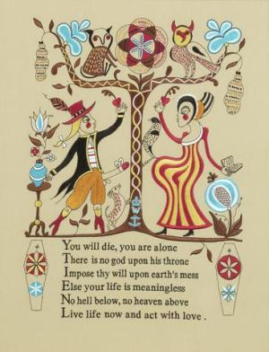 Recipe for Humanity    (tapestry) Embroidery Signed  by Grayson Perry