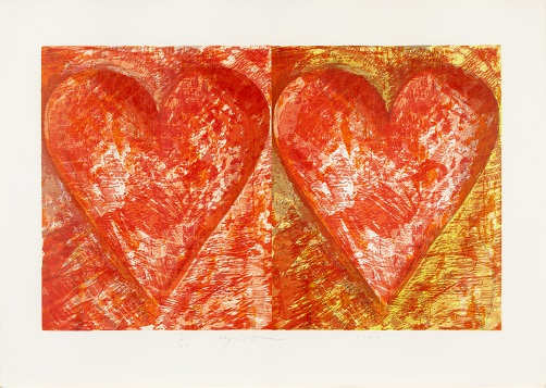 Two Red Hearts Signed  by Jim Dine