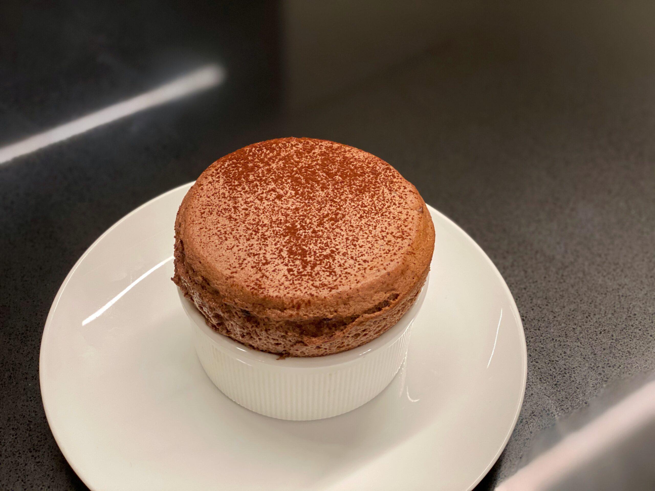 fresh baked chocolate souffle