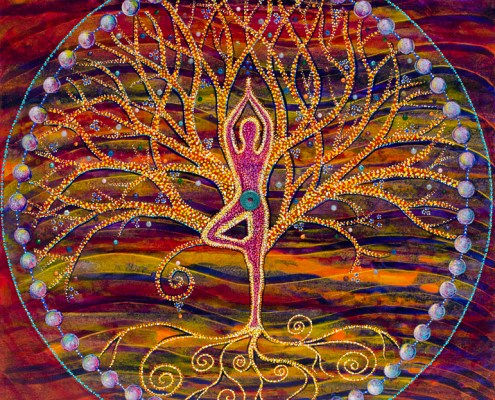 "yoga tree post painting ""Happy"""
