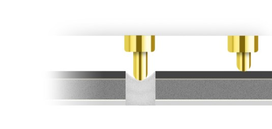 Les pointes télescopiques du Fibaro Flood Sensor s'adaptent aux irrégularités de surface.