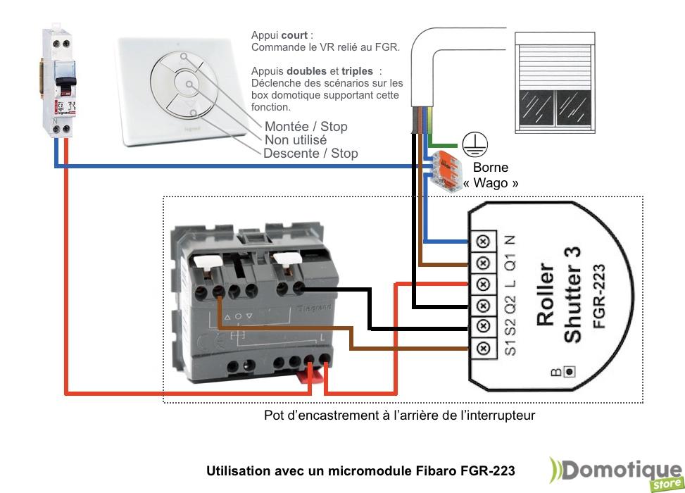 bouton double poussoir legrand celiane pour module volet roulant fibaro fgr 222 223 qubino zmnhcd1 ou variateur fibaro fgd 212