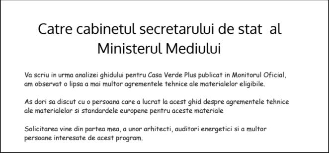 solicitare catre ministerul mediului