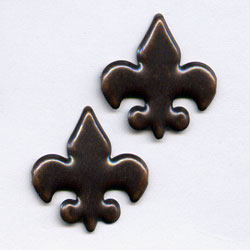 "Antique Copper -- 5/8"" Fleur De Lis -- Paper Fasteners -- 50 Pack"