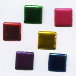 "Assorted Metallic 1/4"" Squares -- Paper Fasteners -- 50 Pack"