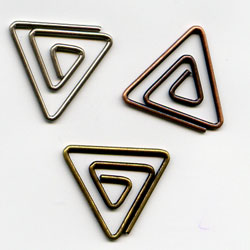 """Antique -- 5/8"""" Triangle Paper Clips -- 15 Pack"""