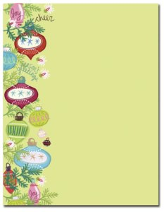 """Whimsy Ornaments -- Holiday Stationery -- 8 1/2"""" x 11"""" -- 100 Sheets"""