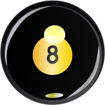 Eight ball to play pool or billiards