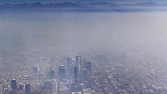 Aerial view shows air pollution in United States - Los Angeles
