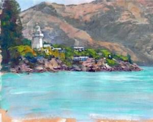 Akaroa Lighthouse 8x10 acrylic