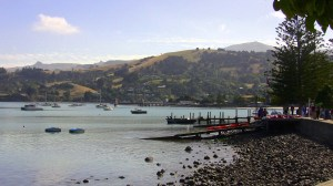 Akaroa waterfront, the scene for my first painting.