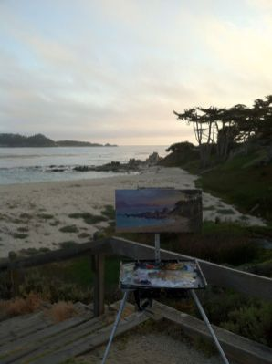 My easel painting along Scenic Road