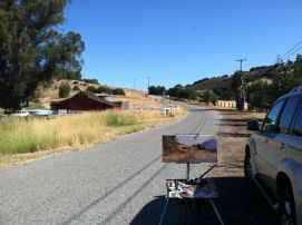 My easel out painting along McKean Road